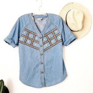 90s Vintage Tribal Western Jean button Down Shirt